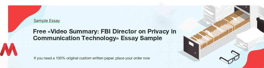 Free «Video Summary: FBI Director on Privacy in Communication Technology» UK Essay Paper
